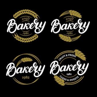 Conjunto de panadería letras escritas a mano logotipo, etiqueta, insignia, emblema.