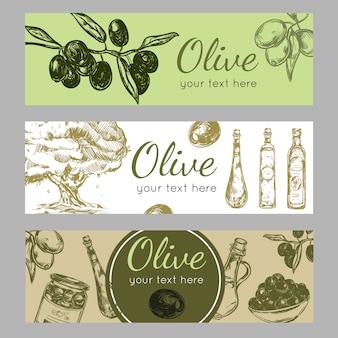Conjunto de pancartas de aceite de oliva dibujado a mano
