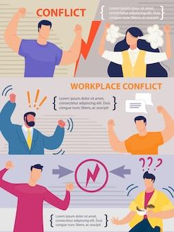 Conjunto de pancartas de conflictos laborales entre compañeros de trabajo
