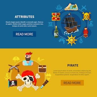 Conjunto de pancartas de dibujos animados horizontales con atributos piratas que incluyen barco, bandera, cofre del tesoro, armas aisladas ilustración vectorial