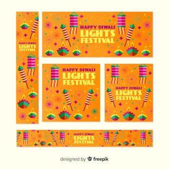 Conjunto de pancartas de diwali con luces