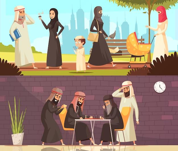 Conjunto de pancartas familiares de trabajo de árabes