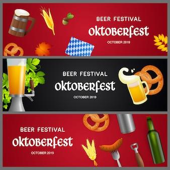 Conjunto de pancartas de festival de cerveza con objetos realistas
