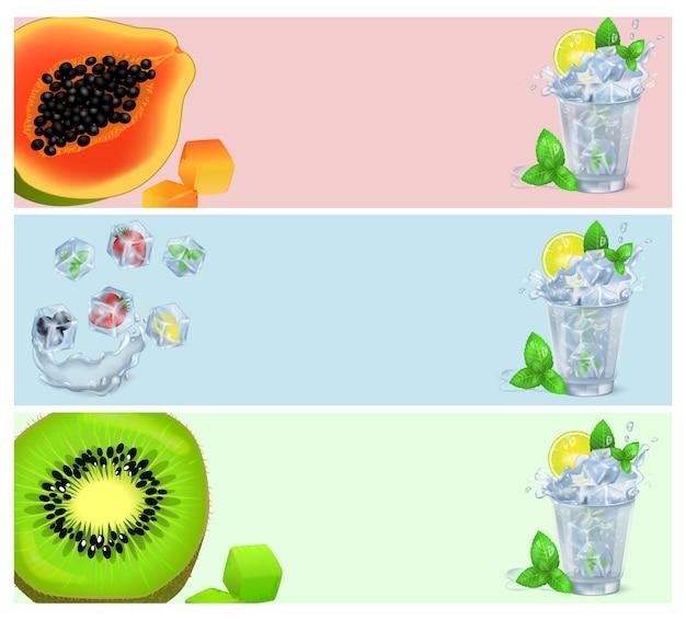 Conjunto de pancartas con frutas tropicales en cubitos de hielo y cócteles.