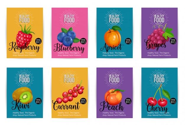 Conjunto de pancartas con frutas