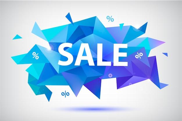 Conjunto de pancartas geométricas facetadas de venta, carteles, tarjetas. formas abstractas de descuento. uso para publicidad, web
