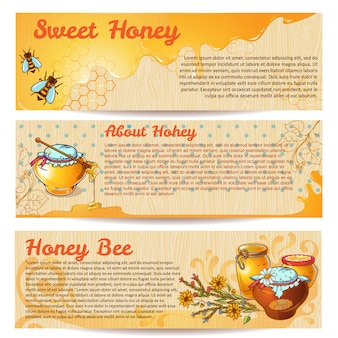 Conjunto de pancartas de miel