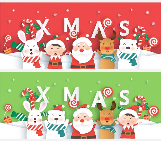 Conjunto de pancartas de navidad con santa y amigos en papel cortado estilo