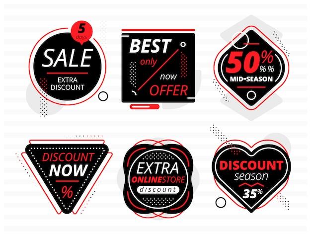 Conjunto de pancartas negras con ofertas de venta