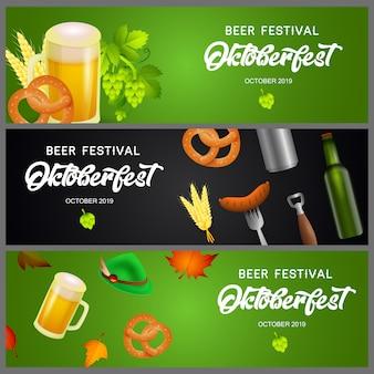 Conjunto de pancartas de oktoberfest con cerveza y aperitivos
