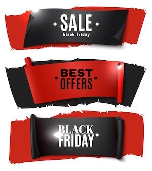 Conjunto de pancartas de papel de viernes negro