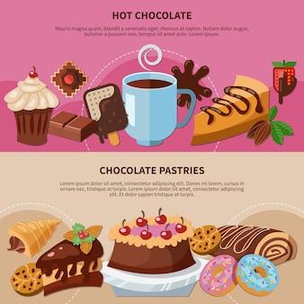 Conjunto de pancartas planas con chocolate caliente y pasteles sobre fondo rosa y beige aislado