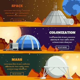 Conjunto de pancartas planas con colonización de planetas