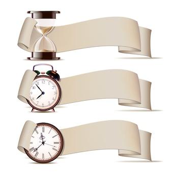 Conjunto de pancartas con relojes.