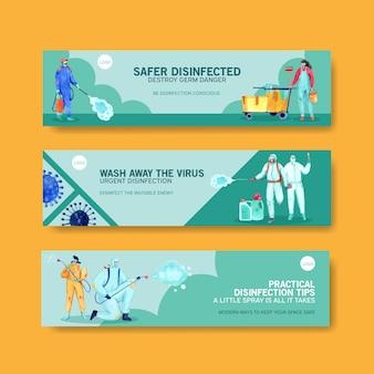 Conjunto de pancartas de seguridad de coronavirus
