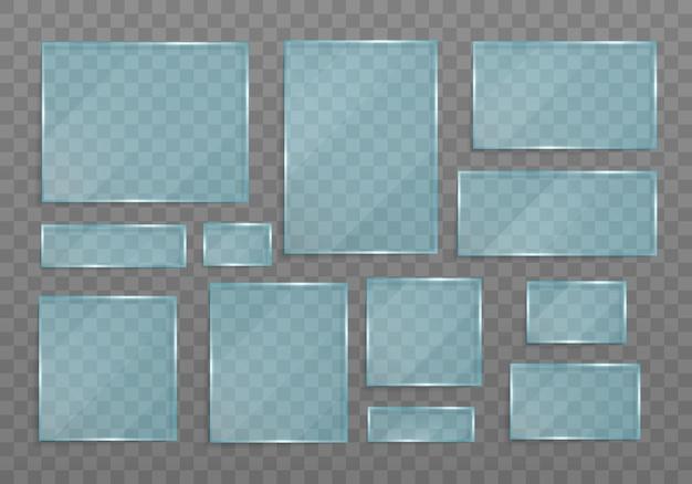 Conjunto de pancartas transparentes hechas de vidrio banner de vidrio transparente