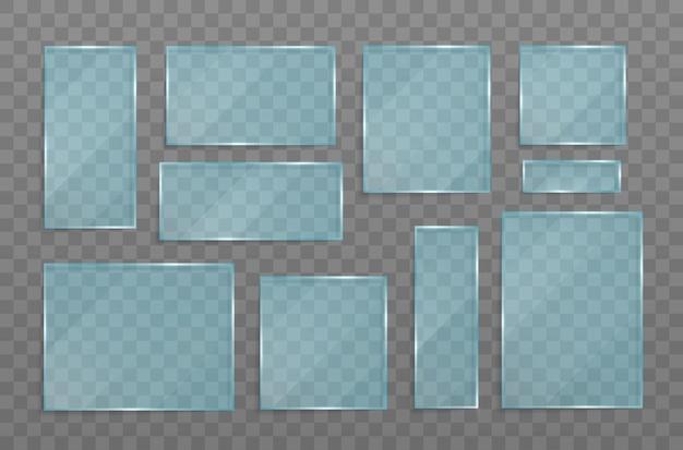 Conjunto de pancartas transparentes de vidrio.