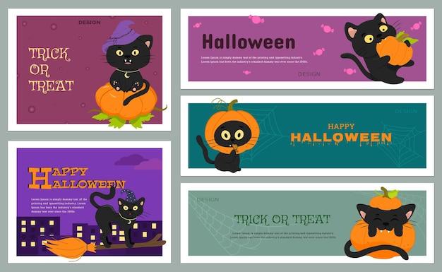 Un conjunto de pancartas vectoriales con lindos gatos negros y una calabaza para halloween