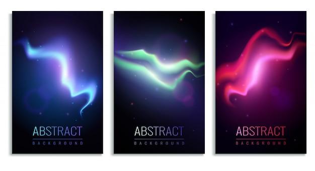 Conjunto de pancartas verticales con coloridas luces del norte en realista oscuro