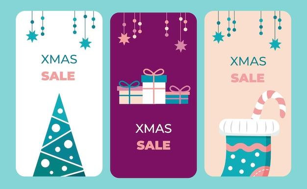 Un conjunto de pancartas verticales navideñas con un diseño plano y un esquema de color único ilustración vectorial