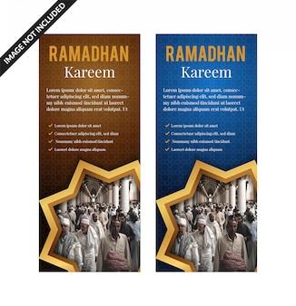 Conjunto de pancartas verticales de ramadan kareem con decoración islámica arabesca 3d