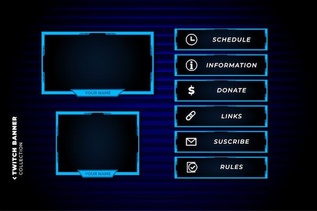 Conjunto de panel twitch con plantilla de formas azules abstractas