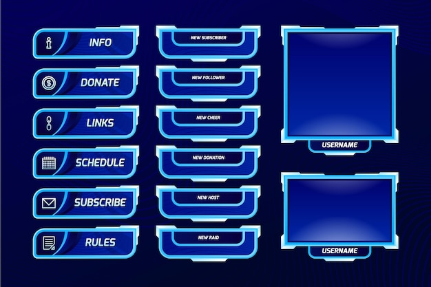 Conjunto de paneles de transmisión twitch