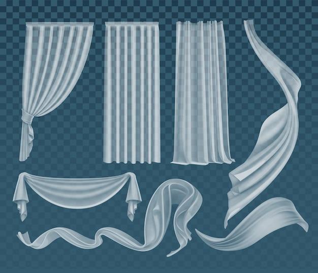 Conjunto de paños blancos translúcidos ondeando realistas material transparente suave y ligero