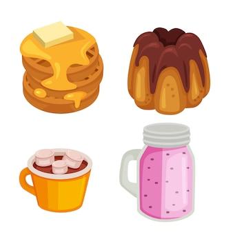 Conjunto de panqueques dulces de comida y bebida.