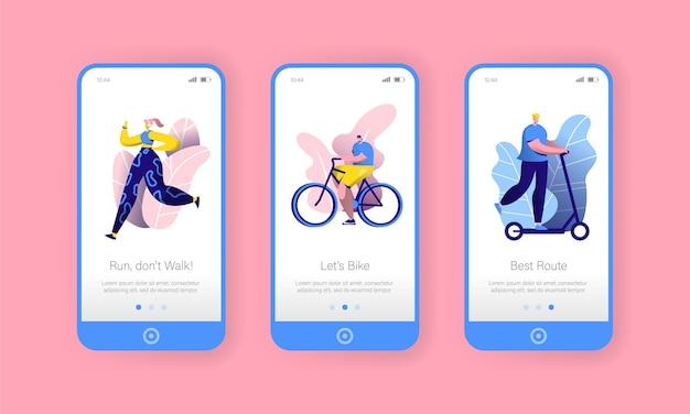 Conjunto de pantalla a bordo de la aplicación móvil city park sport lifestyle.