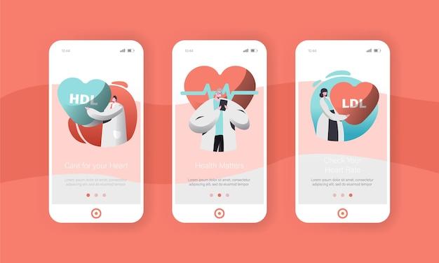 Conjunto de pantalla a bordo de la página de la aplicación móvil del médico de cardiología masculino y femenino o del trabajador de la salud.