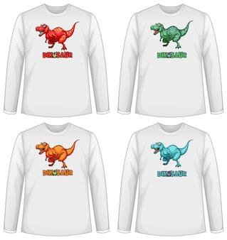 Conjunto de pantalla de dinosaurio de diferentes colores en camiseta de manga larga