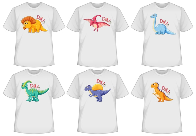 Conjunto de pantalla de dinosaurio de diferentes colores en camisetas.
