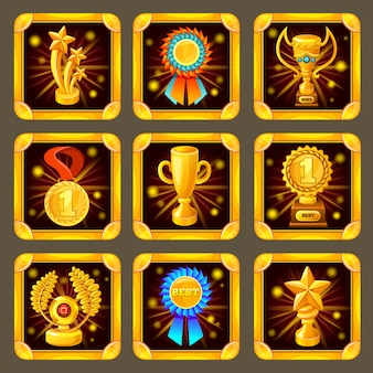 Conjunto de pantalla de juego de logros de dibujos animados