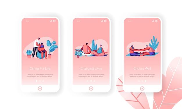 Conjunto de pantalla de página de aplicación móvil de actividad deportiva para mujeres embarazadas