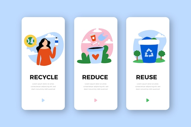 Conjunto de pantallas de aplicación de incorporación de servicio de reciclaje