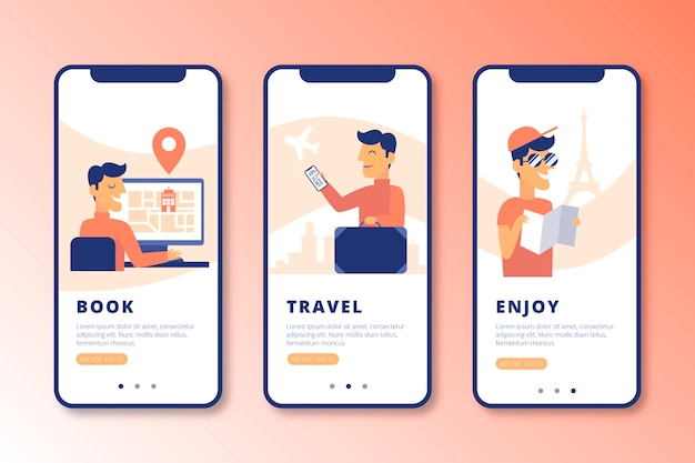 Conjunto de pantallas de aplicaciones de incorporación en línea para viajes