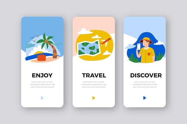 Conjunto de pantallas de aplicaciones de incorporación de servicios de viajes