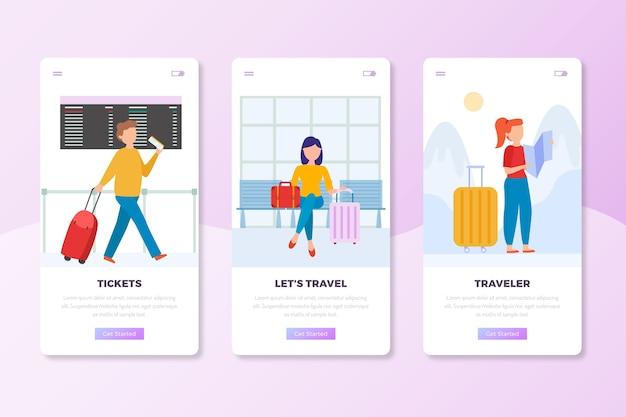 Conjunto de pantallas de aplicaciones de incorporación de viajes