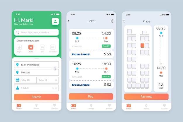 Conjunto de pantallas de aplicaciones de transporte público.