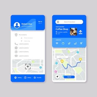 Conjunto de pantallas de aplicaciones de ubicación
