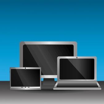 Conjunto de pantallas en blanco computadora monitor portátil smartphone tecnología digital