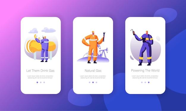 Conjunto de pantallas a bordo de la página de la aplicación móvil de la industria del gas