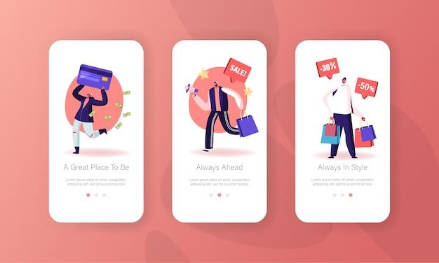 Conjunto de pantallas a bordo de la página de la aplicación móvil de venta total.