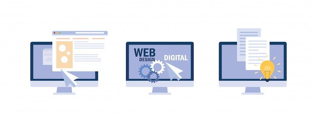 Conjunto de pantallas de computadora de escritorio, proceso de programación web