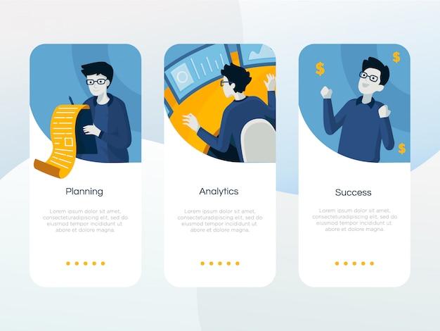 Conjunto de pantallas de incorporación de aplicaciones de negocios