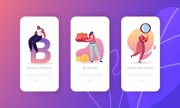 Conjunto de pantallas integradas de la página de la aplicación móvil mujeres y sus cosas.