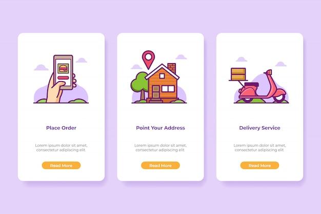 Conjunto de pantallas de interfaz de aplicación de alimentos incorporados