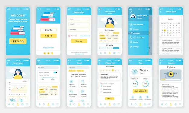 Conjunto de pantallas de interfaz de usuario, ux, gui aplicación educativa plana