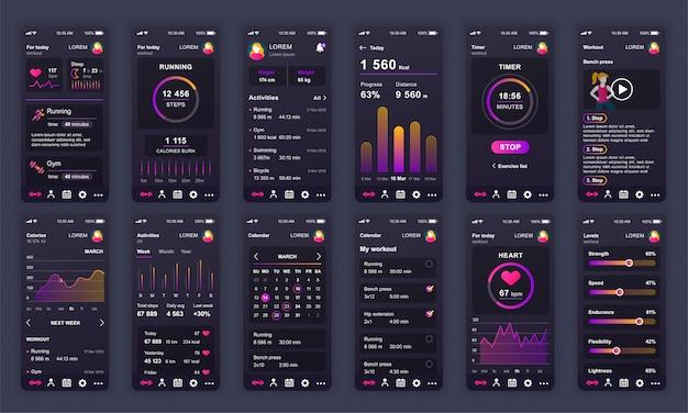 Conjunto de pantallas de interfaz de usuario, ux, gui aplicación de fitness plana